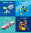 undersea depths research isometric concept vector image vector image