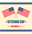 Veterans Day card with american flag background vector image vector image