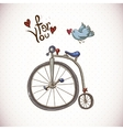 Vintage Card with Retro Bike and Bird vector image
