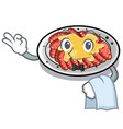 waiter carpaccio isolated with in mascot vector image vector image