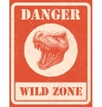 warning sign danger signal with dinosaur eps 8 vector image vector image