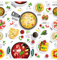 collection of italian food top view iluustrations vector image