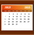 2019 happy new year july calendar template vector image vector image