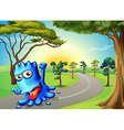 A blue monster running with a smile vector image vector image