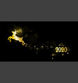 banner with a new year golden deer on a black vector image