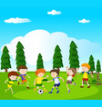 boys playing soccer in park vector image vector image