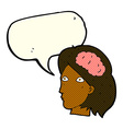 cartoon female head with brain symbol with speech vector image vector image