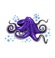 cartoon violet purple octopus clip-art isolated on vector image