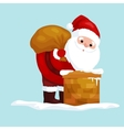 christmas Santa Claus in red suit with bag full of vector image vector image