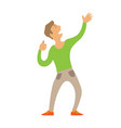 dancing man stretching arms up isolated character vector image