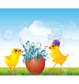 Easrer chicken with egg vector image vector image