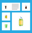 flat icon drink set of cup carbonated beverage vector image vector image