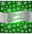 Green Background with Snowflakes and Silver vector image vector image