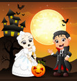 halloween background with female skull bride holdi vector image vector image