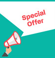 hand holding megaphone special offer in flat vector image vector image