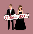 happy couple in dark classic suits vector image vector image