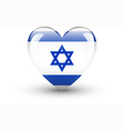 Heart-shaped icon with national flag of Israel vector image