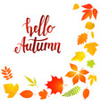 hello autumn lettering with yellow leaves vector image