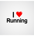 I love running font type with heart sign vector image