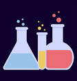 laboratory glass flasks vector image vector image