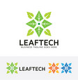 leaf technology logo design vector image vector image