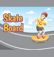 little boy with skateboard vector image