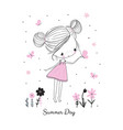 little girl with butterflies and flowers doodle vector image