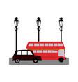london taxi and bus on street vector image