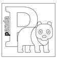 Panda letter P coloring page vector image vector image