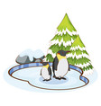 penguins standing on ice vector image