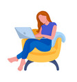person working from home cartoon character vector image vector image