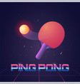 racket for ping pong with ball in futuristic style vector image