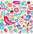 scandinavian folk art seamless pattern vector image