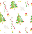 seamless pattern with christmas trees and bells vector image vector image