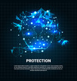 security shield blue polygons over blue background vector image