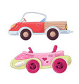 set cute cartoon truck and cabriolet for kids vector image