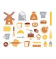set flat bakery icons vector image