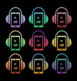set of concept music icons - headphones with vector image vector image