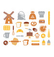 set of flat bakery icons vector image vector image