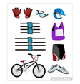 Set of Mountain Bike Equipment on White Background vector image