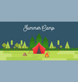 summer camp concept landscape tent mountain tree vector image vector image