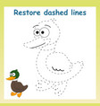 trace game for childrencartoon duck vector image