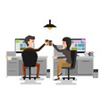 two business man and woman cheers toast drink ice vector image