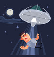 ufo tries abduct man characters vector image