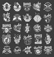 vintage monochrome barbershop emblems vector image vector image