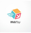 web play logo design made for internet fun vector image