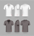 white black mens polo t-shirt set isolated vector image