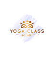 yoga watercolor logo with lotus flower on white vector image