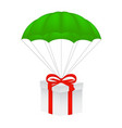 gift box at green parachute vector image