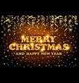 gold merry christmas and happy new year wood vector image